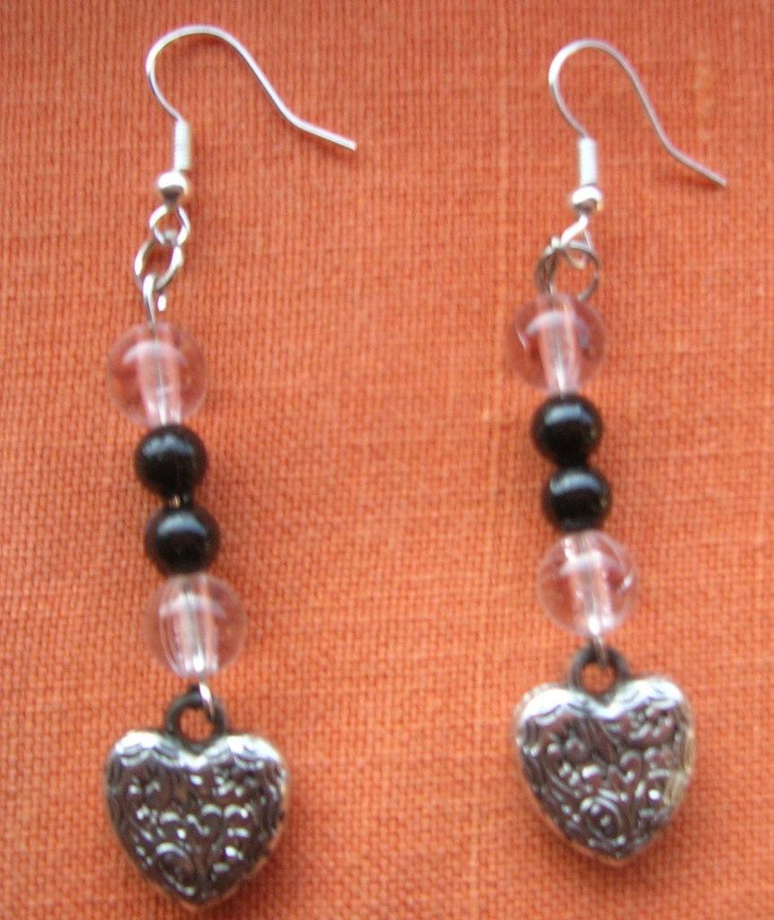 orecchini perline e cuore