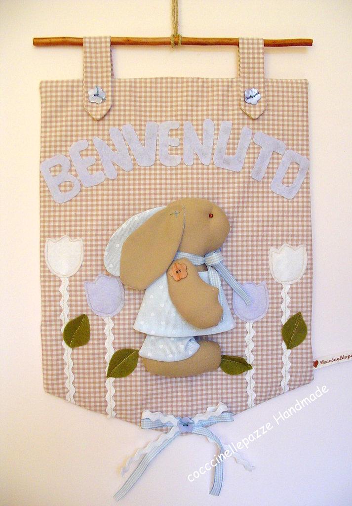 Conosciuto PANNELLO FIOCCO ANNUNCIO NASCITA BIMBO con coniglietto - Bambini  QU79