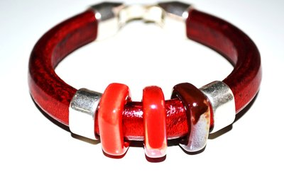 PULSERA CUERO THREE CERAMIC