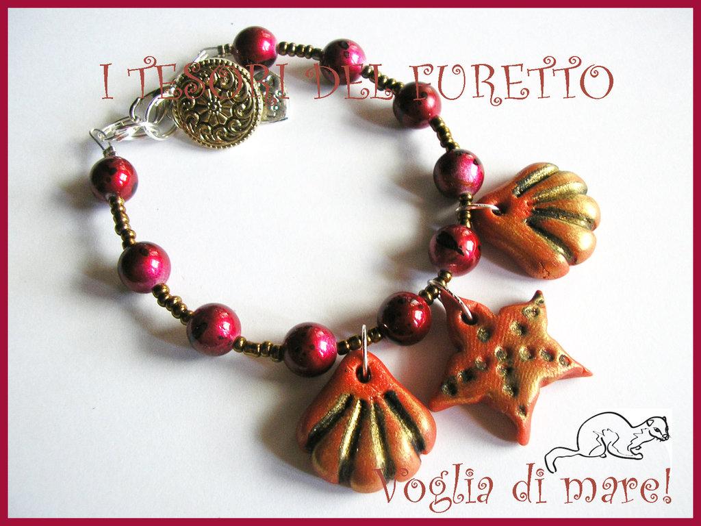 """Bracciale """"Voglia di Mare"""" Rosso conchiglie stella marina mare 2012"""