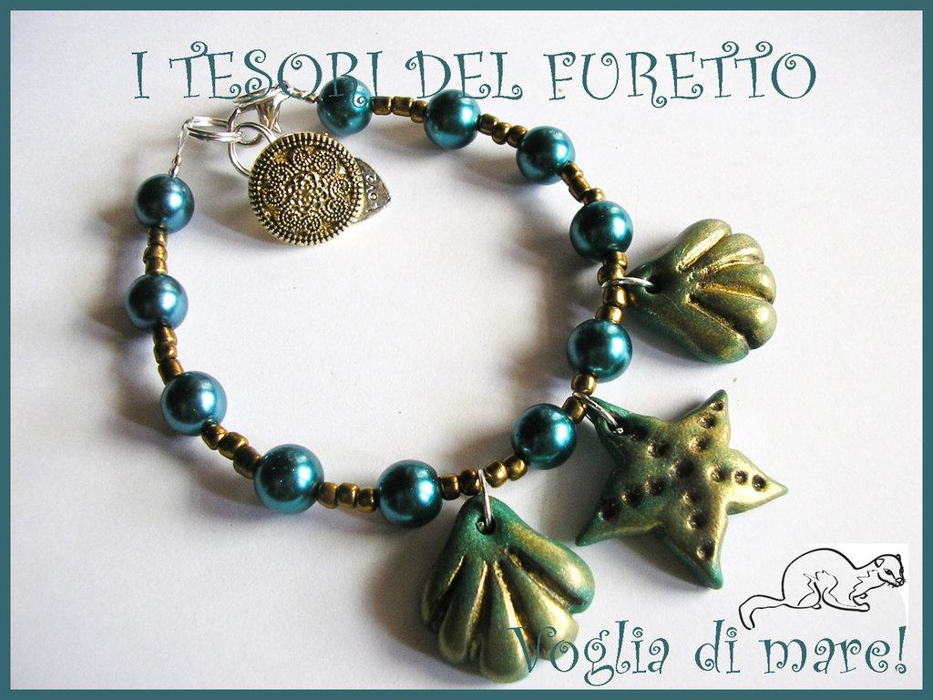"""Bracciale """"Voglia di mare"""" Verde conchiglie stella marina mare 2012"""