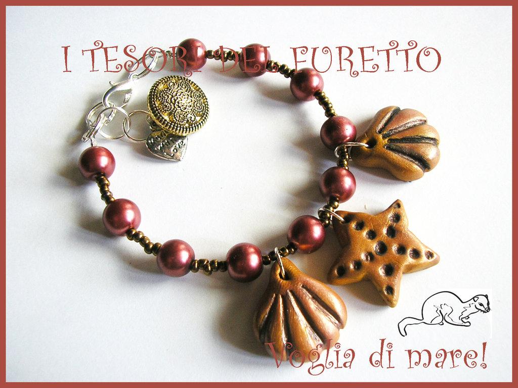 """Bracciale """"Voglia di mare"""" Bronzo conchiglie stella marina estate 2012"""