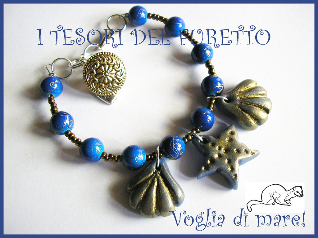 "Bracciale ""Voglia di Mare"" Blu conchiglie stella marina mare 2012"