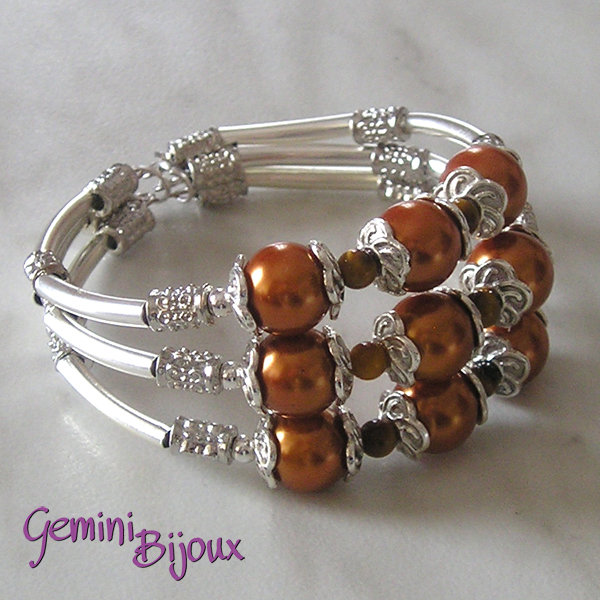 Bracciale rigido perle bronze