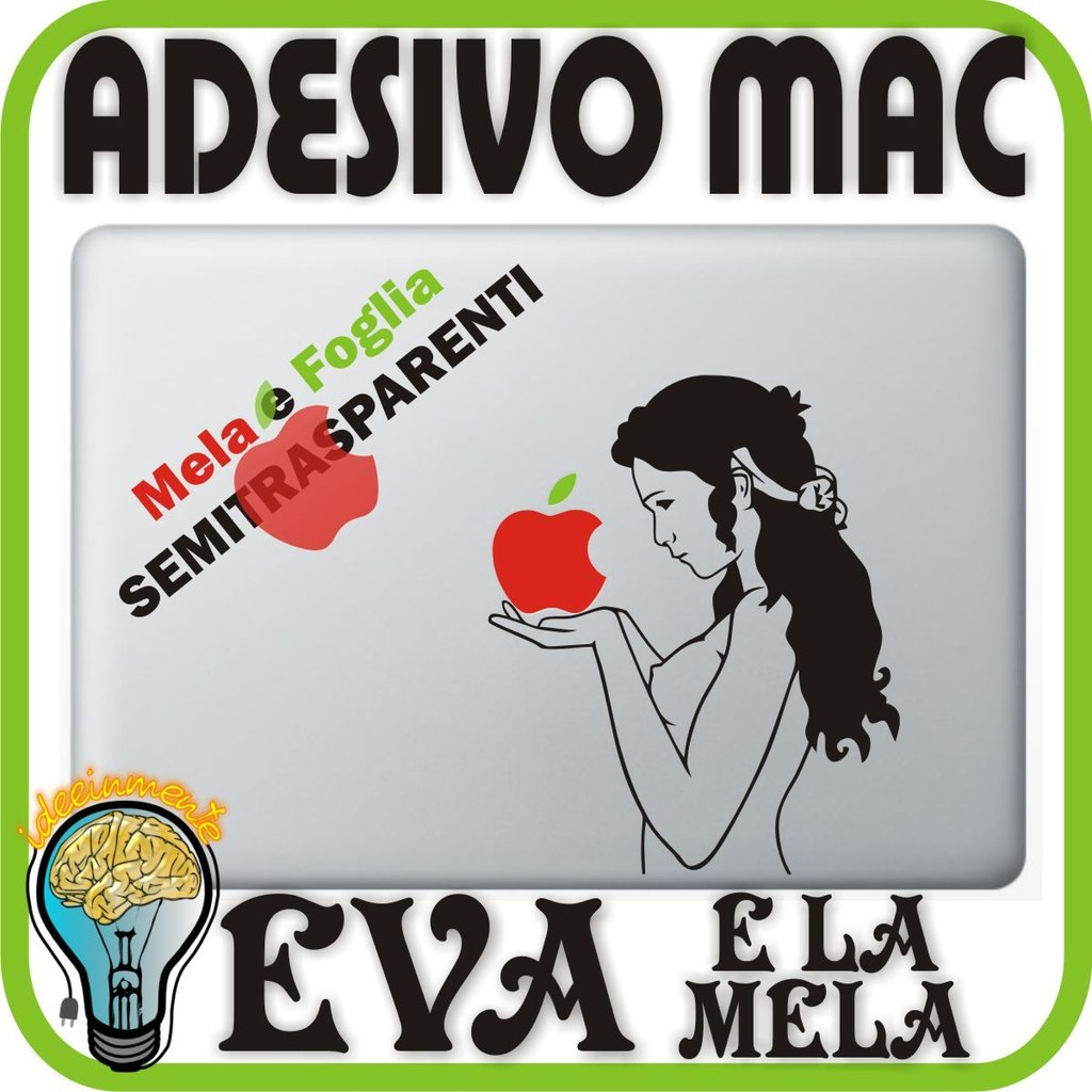 EVA E LA MELA - APPLE MAC MACBOOK ADESIVO 13 15 17 PRO DECALCOMANIA ORIGINAL SIN