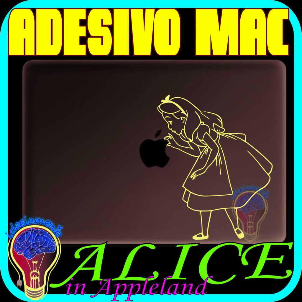 ALICE NEL PAESE DELLE MERAVIGLIE - ALICE IN WONDERLAND - ADESIVO ADESIVI STICKER MACBOOK 13 15 17