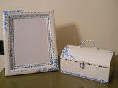 Cofanetto,scatola, portagioie in legno dipinto a mano