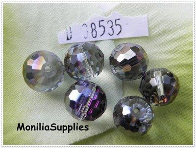 4 PZ PERLA CRISTALLO ROUND SFACCETTATO 10X9mm  BLACK DIAMOND D08535