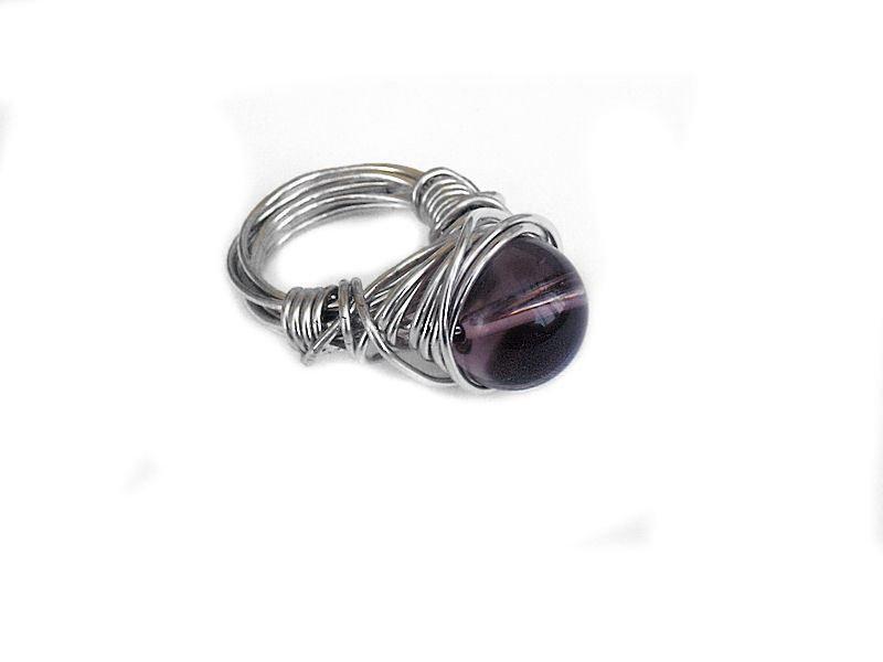 anello tecnica wire con perla di vetro