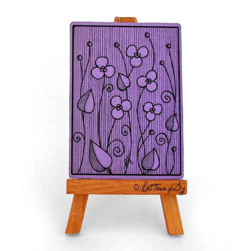 """ACEO """"Impronte 002, Violette viola"""" - cartolina stampata da collezione"""