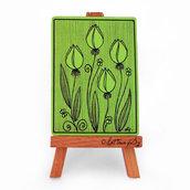 """ACEO """"Impronte 004, Tulipani verdi"""" - cartolina stampata da collezione"""