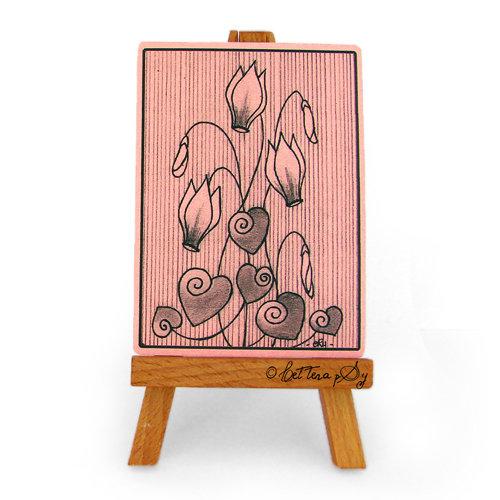 """ACEO """"Impronte 006, Ciclamini Rosa"""" - cartolina stampata da collezione"""