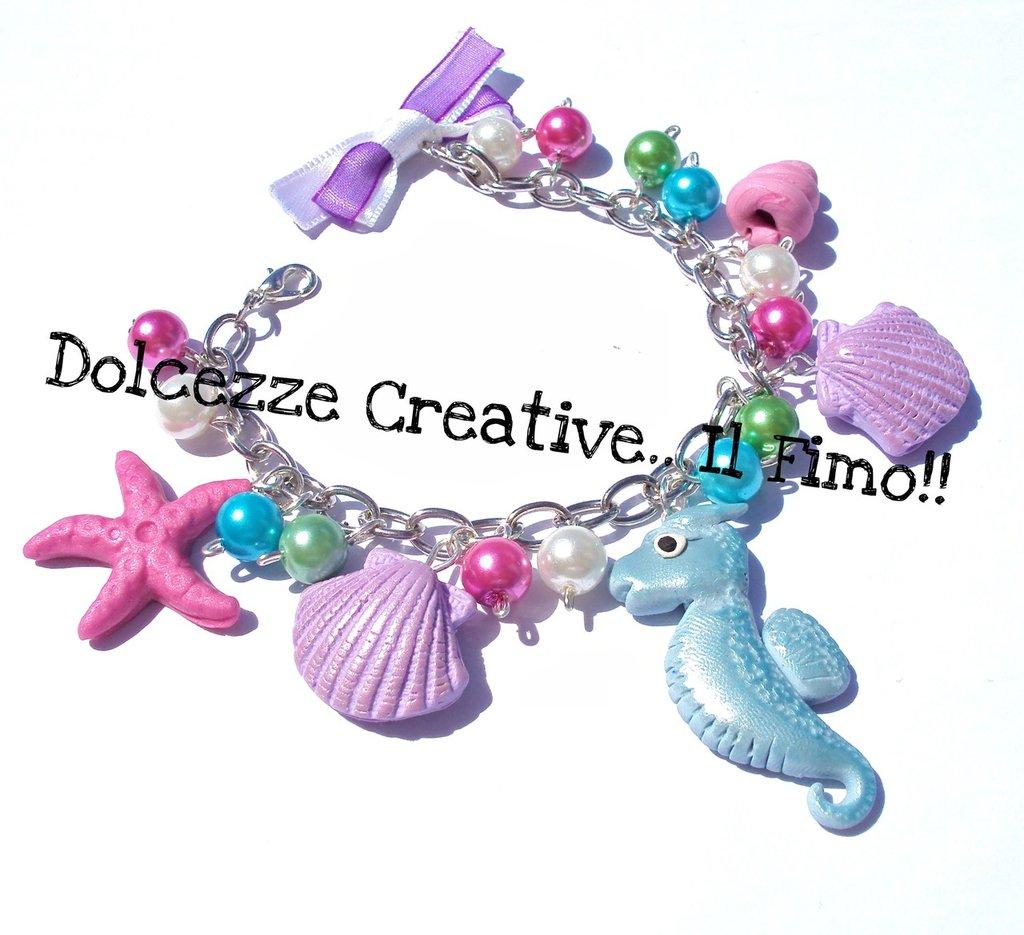 ★★SALDI Bracciale Cavalluccio marino, conchiglie stelle marine kawaii perle