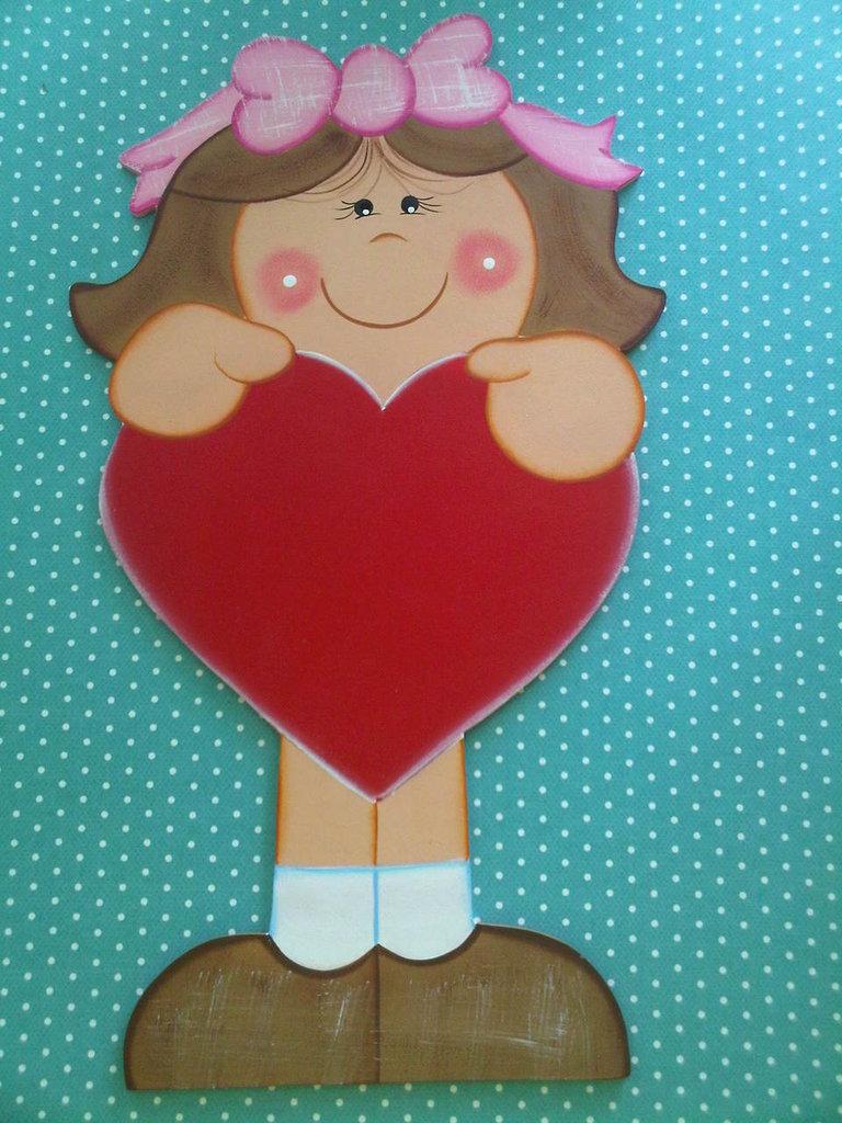 Niña con Corazón para Mensaje