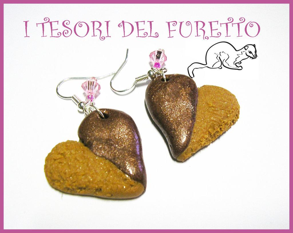 """Orecchini """"Biscotto Cuore Cioccolato"""" fimo cernit idea regalo natale 2012 dolcetti"""