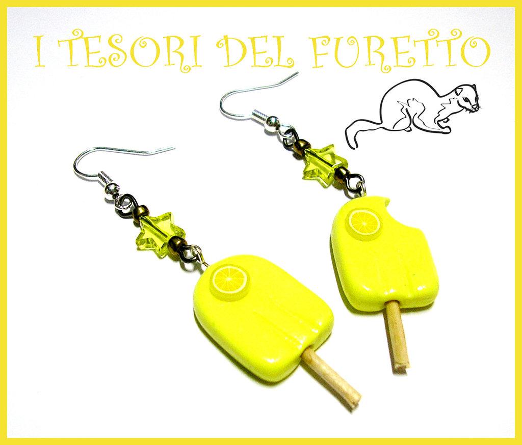 """Orecchini """"Ghiaccioli al Limone"""" fimo cernit idea regalo estate 2012 kawaii"""