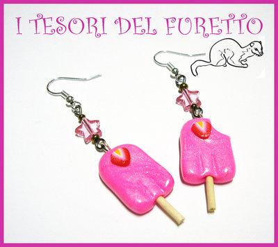 """Orecchini """"Ghiaccioli alla fragola"""" fimo cerni kawaii gelati dolcetti estate 2012"""