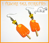 "Orecchini ""Ghiaccioli all'arancia"" fimo cernit idea regalo estate 2012 kawaii"