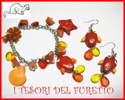 """Parure """"Pesciolino Rosso Estate 2012 """" Bracciale Orecchini Fimo Cernit kawaii"""