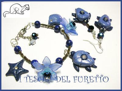 """Parure """"Tartaruga Blu Estate 2012"""" fimo cernit kawaii estate stelle marine conchiglie"""