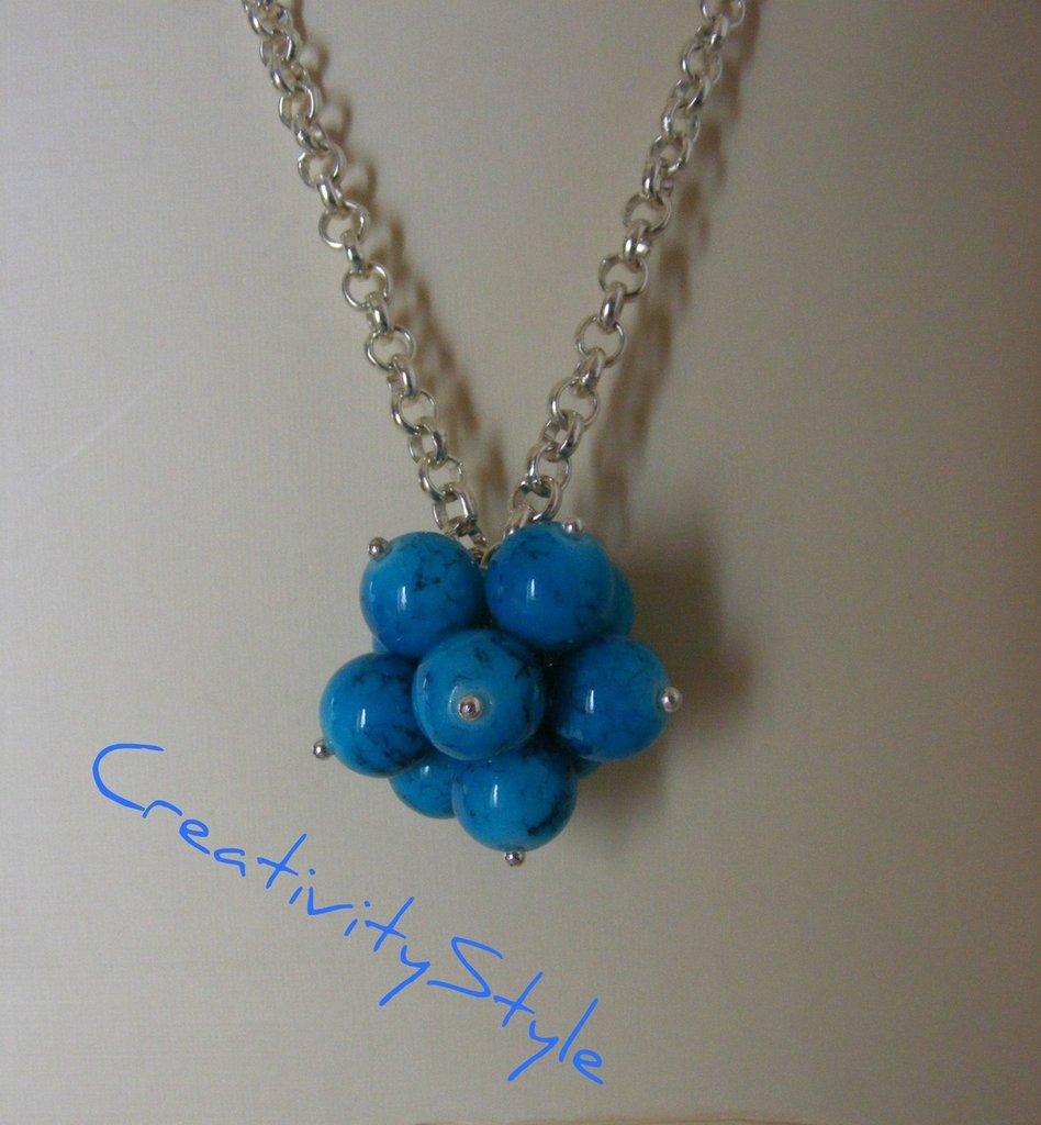 collana argento con ciondolo in pietre blu