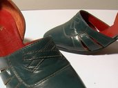 GREEN KIDSKIN HEELED SHOES - SIZE 6.5 - '70 - MADE IN ITALY - NEW AND NEVER WORN