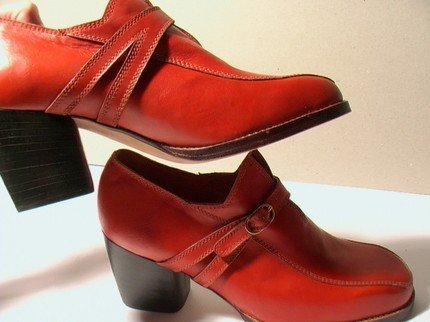 ORANGE-RED CALF HEELED SHOES - SIZE 5,5 - '70 - MADE IN ITALY - NEW AND NEVER WORN
