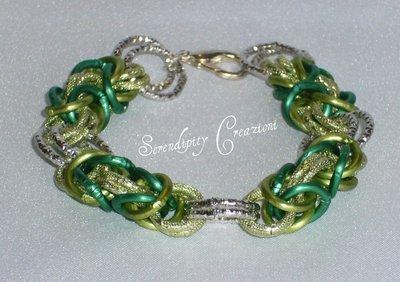 Braccialetto Chain Mail Verde
