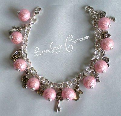 Braccialetto Charms con Perle Rosa