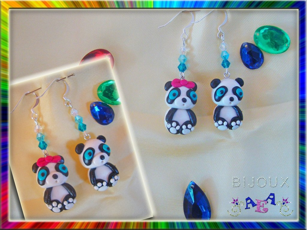 ORECCHINI Mrs/Mr panda in FIMO