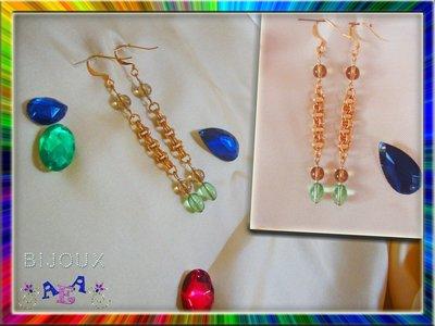 ORECCHINI CHAIN con perle marrone e verde