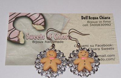 Orecchini omino biscottino,gingerbread
