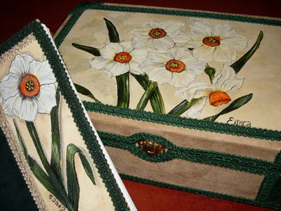 "Scatola con Diario mod.""IL GIARDINO DEI NARCISI""-set of box with diary ""THE GARDEN OF NARCISSUS"""