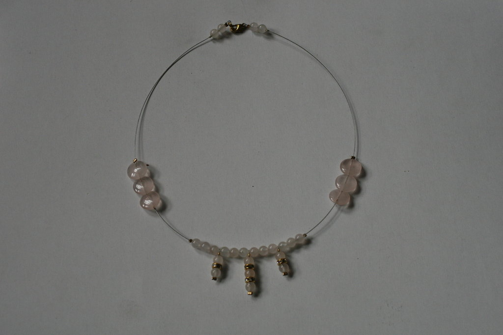 collana artigianale quarzo rosa -   handcrafted rose quartz necklace