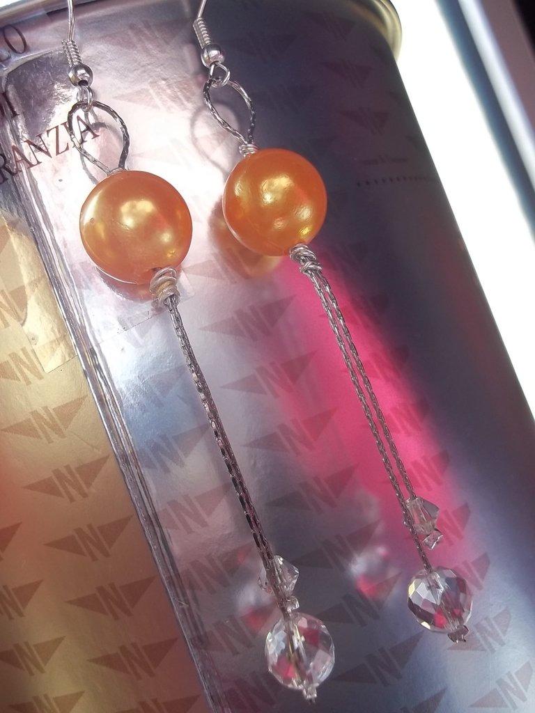 Orecchini perla arancio