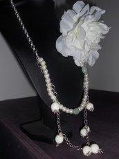 Collana con fiore di stoffa