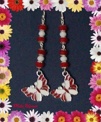 Farfalle in smalto rosse