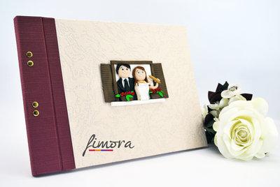 Guestbook sposi con decorazione in cernit