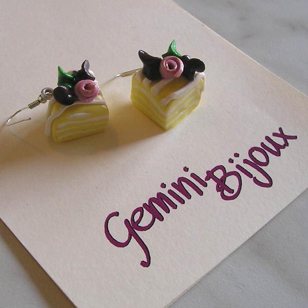 Orecchini fette torta gialla