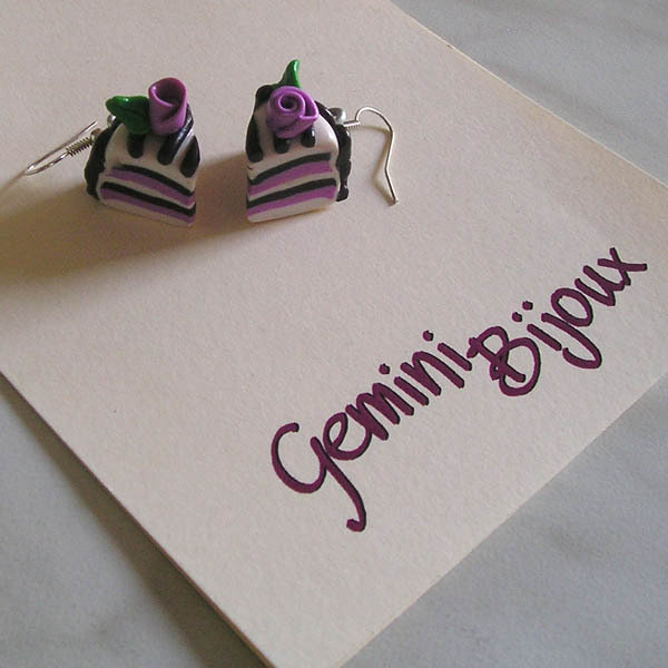 Orecchini fette torta rosa