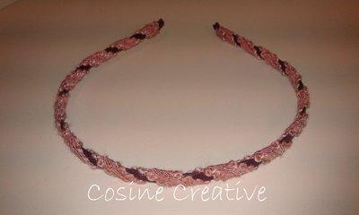 Cerchietto bordeaux e rosa sottile fatto a mano
