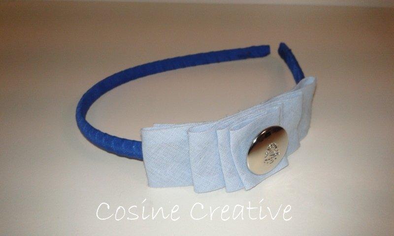 Cerchietto blu elettrico con fiocco fatto a mano