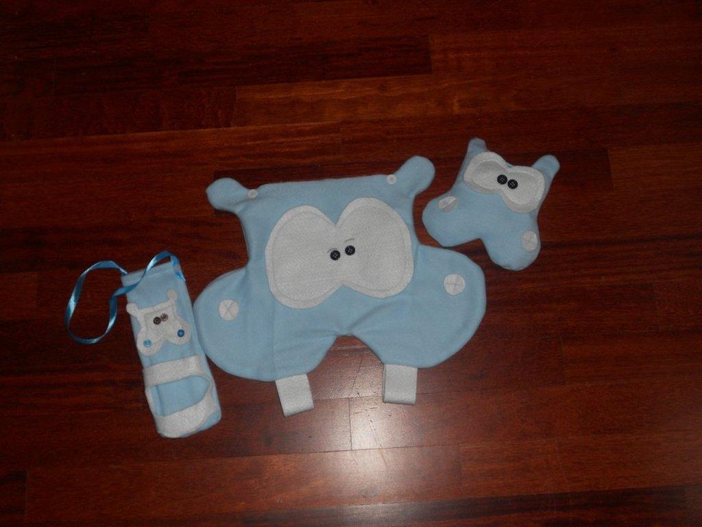 kit ippo: porta pigiama, porta biberon e peluche sonoro