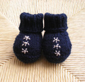Newborn Blue Booties with Tiny Embroidered Flowers