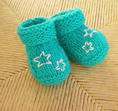 Newborn Aqua Booties with Little Embroidered Stars
