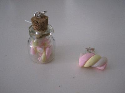 Orecchini marshmellow in barattolo