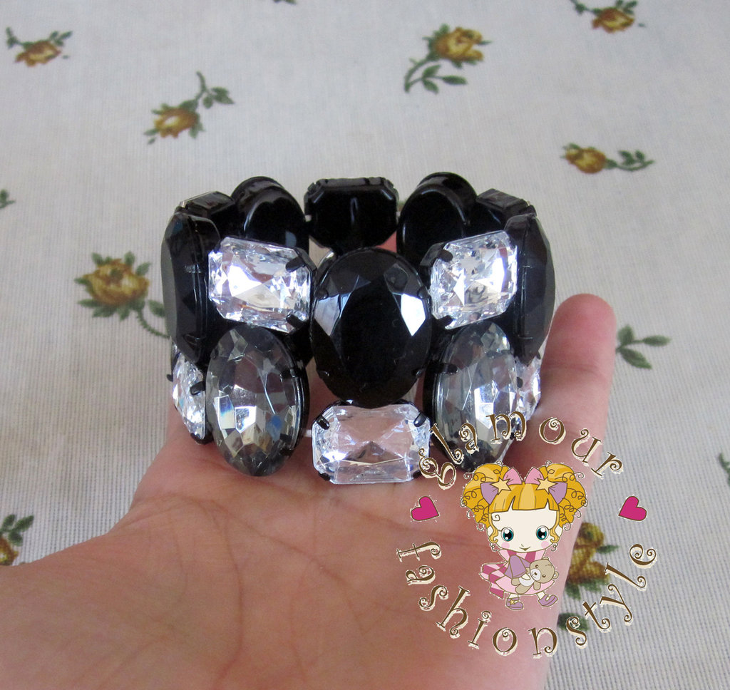BASE BRACCIALE BANGLE ELASTICO CABOCHON STRASS NERO CRYSTAL FIMO DONNA RAGAZZA