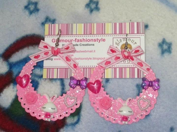orecchini earrings cerchi con coniglietto bunny