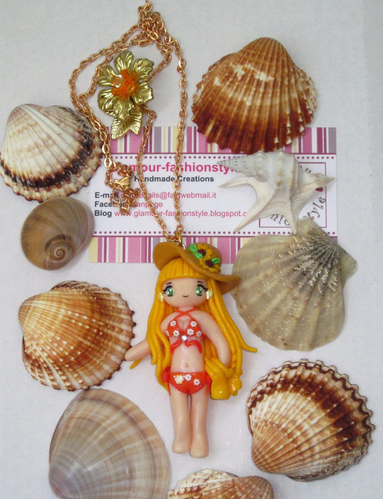 COLLANA NECKLACE DOLL MARE BIKINI FIMO COSPLAY OTAKU DONNA RAGAZZA GIRL SHELL