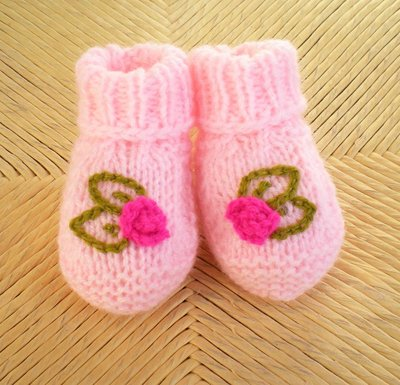 Newborn Pink Booties with Embroidered Fuchsia Rosettes